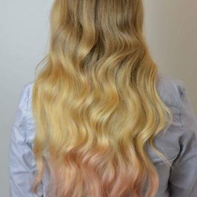 Locken und Farbverlauf (nachher). Haarschnitt, Färben, Farbverlauf, Locken: Nadja Maisl, 2016, Salzburg