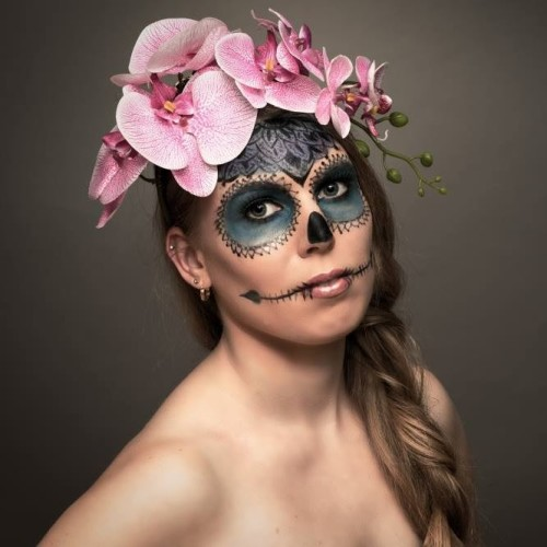 Female Skull Make Up. Fotograf: Christoph Haubner, Visagistin und Stylistin: Nadja Maisl, 2016, Salzburg
